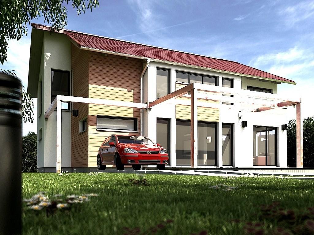 Visualisierung eines freistehenden Wohnhauses bei Tag