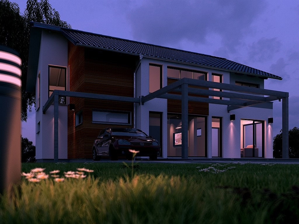 Visualisierung eines freistehenden Wohnhauses bei Nacht